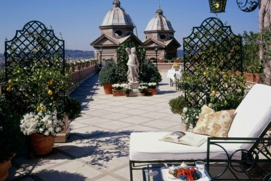 Private Terrasse der Penthouse Suite Hotel Hassler Roma