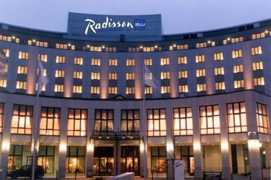 Aussenansicht des Radisson Blu-Hotel in Cottbus